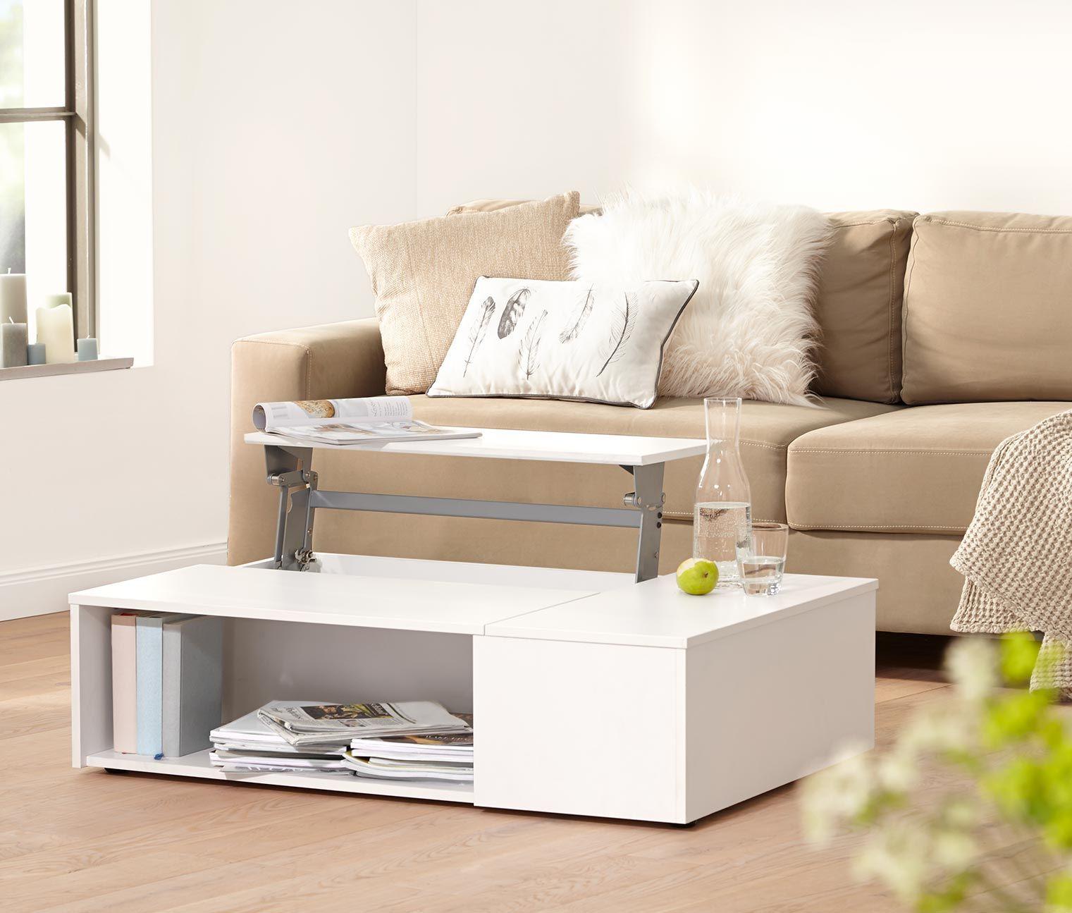 platzsparend ideen seats and sofas online shop, funktions-couchtisch, weiß/eiche | ideen wohnzimmer | pinterest, Innenarchitektur
