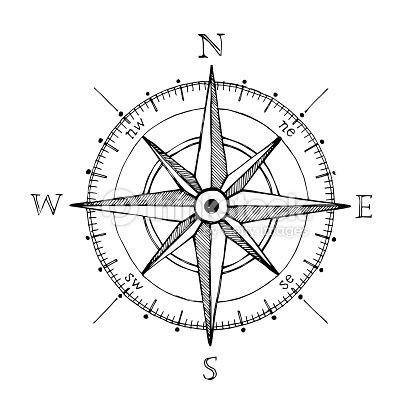 Compass wind rose hand drawn design element