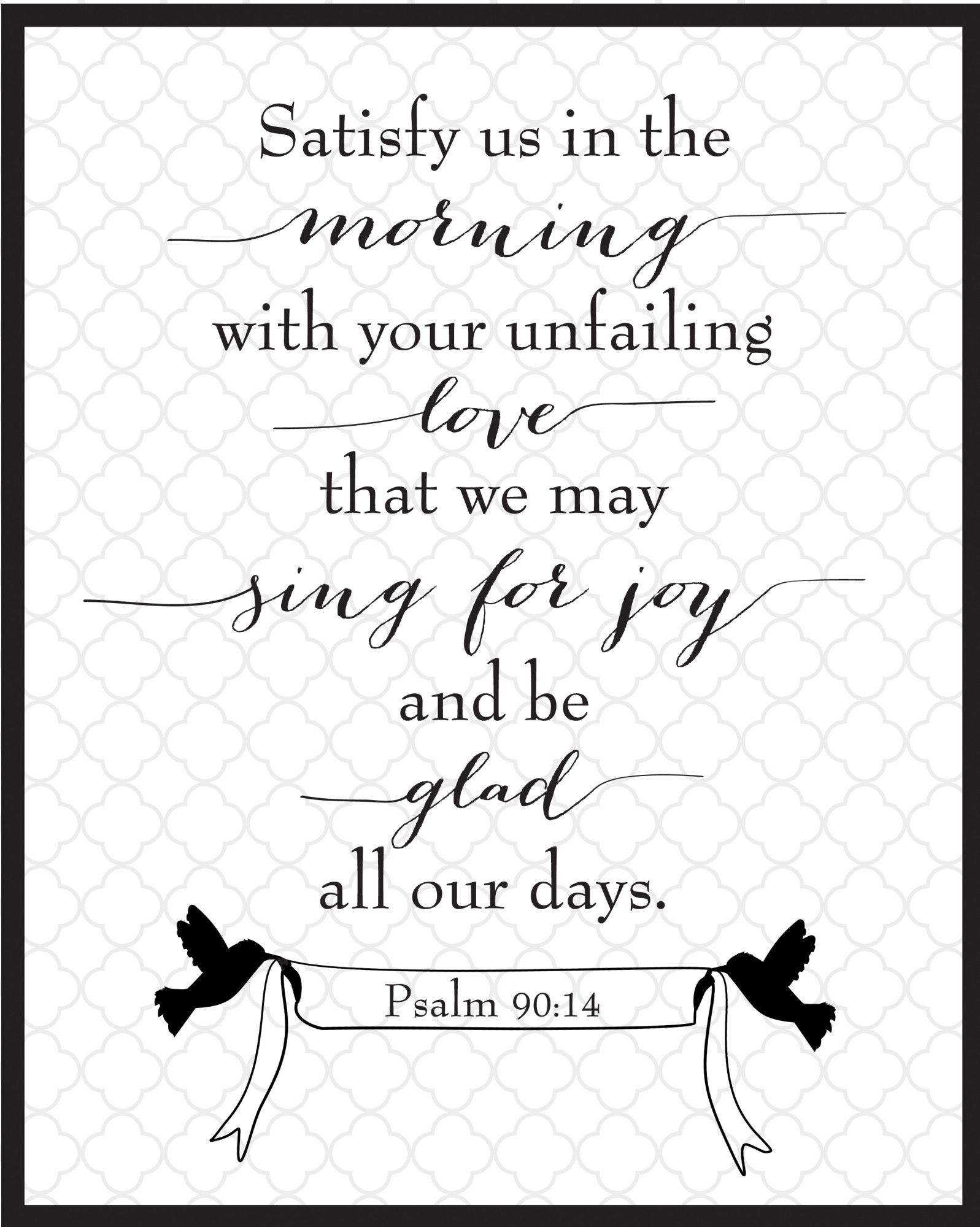 Psalm 90:14 Free Printable | Christian Women Bloggers | Psalms