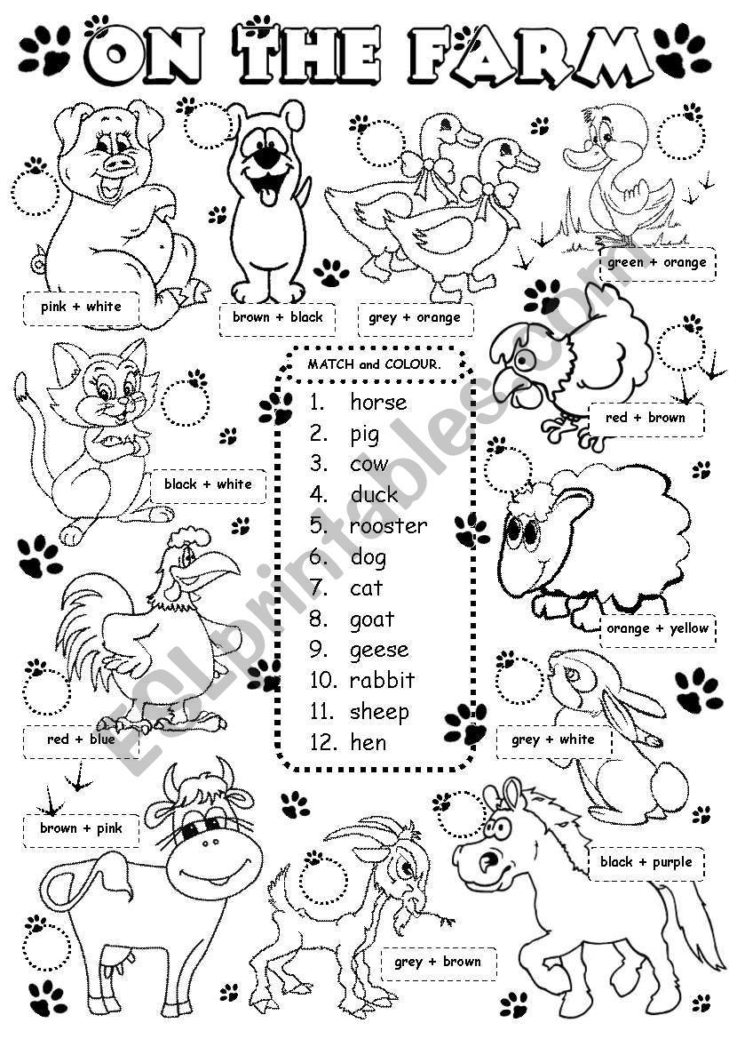 on the farm animals 1 3 worksheet elementary course fichas ingles ense anza de ingl s. Black Bedroom Furniture Sets. Home Design Ideas