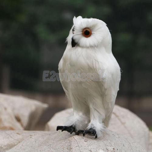 Realistic Feather Owl Decoy Bird Scarer Halloween Prop Garden Decor White