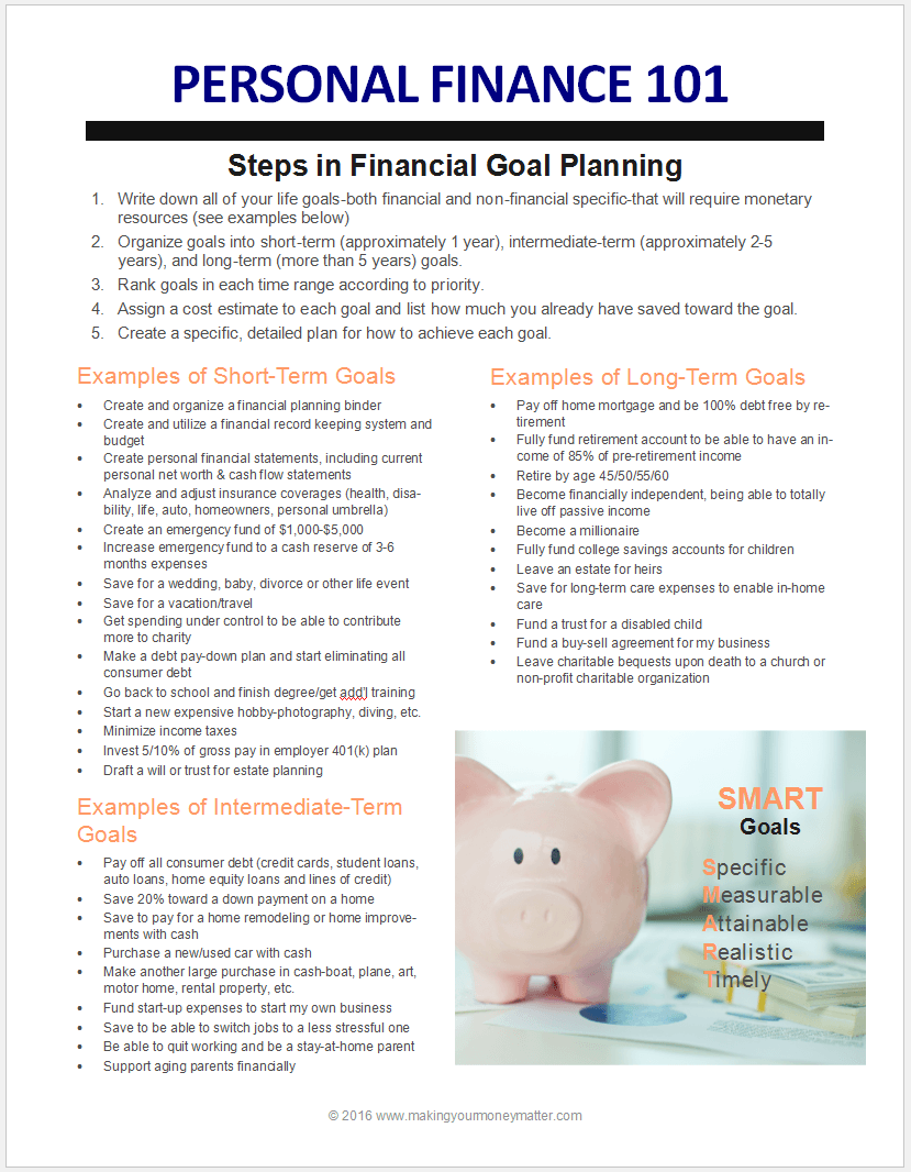 PF101 Intro to Personal Finance & Goals Financial goals