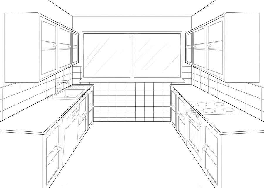 kitchen 1 point perspective. kitchen perspective drawing one point 1