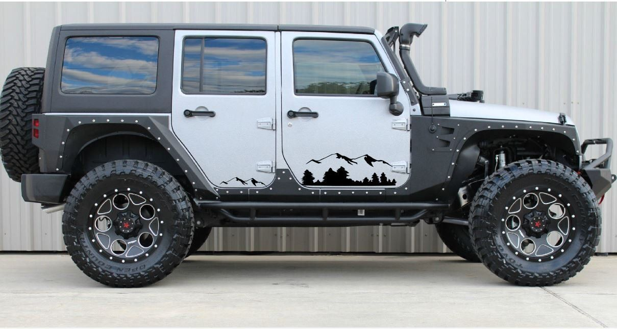 Black Mountains Decal Sticker Compatible With Jeep Wrangler Rubicon Jk Decals Bumper Stickers Jeep Decals Jeep Wrangler Accessories Jeep Wrangler Rubicon