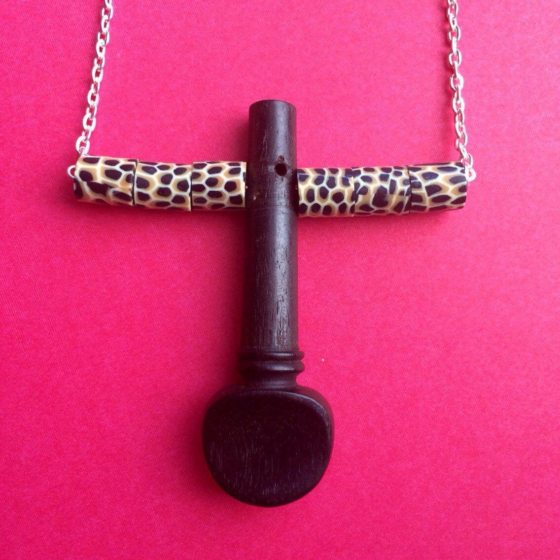 Upcycled ebony violin tuning peg pendant with animal print