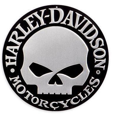 harley-davidson® skull tin sign. 99332-08v embossed tin sign