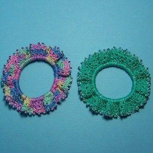 Pretty in Pink & Purple Designer Beaded Crochet Scrunchie Duo #crochetscrunchies