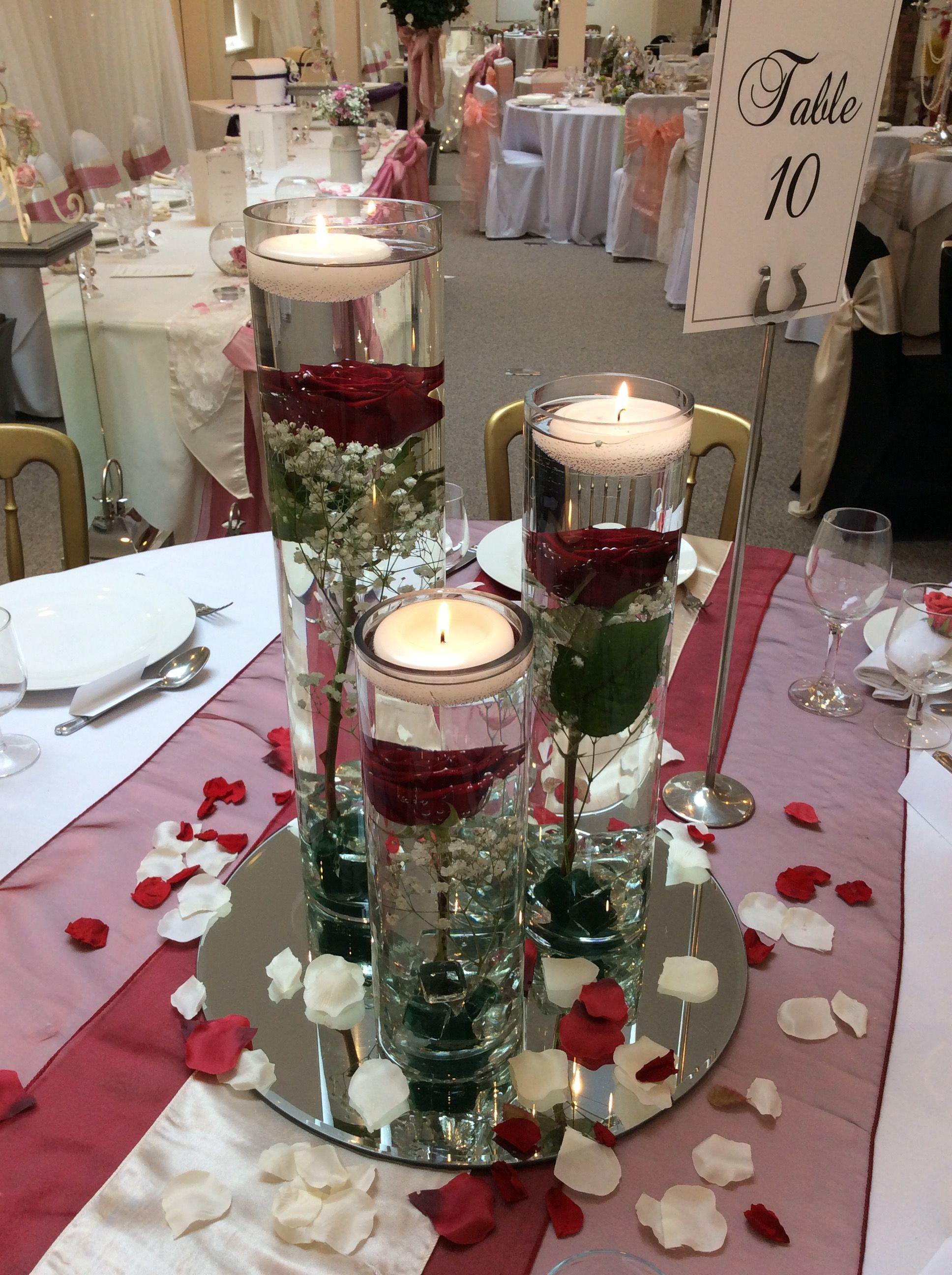 Triple Cylinder Vase Centrepiece With Roses And Gypsophila By Add Style Uk Cylinder Vase Centerpieces Vase Centerpieces Lily Vases
