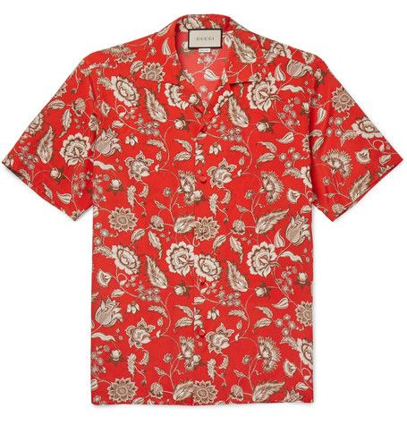 ed548c25b GUCCI Camp-Collar Floral-Print Silk Shirt. #gucci #cloth #casual shirts