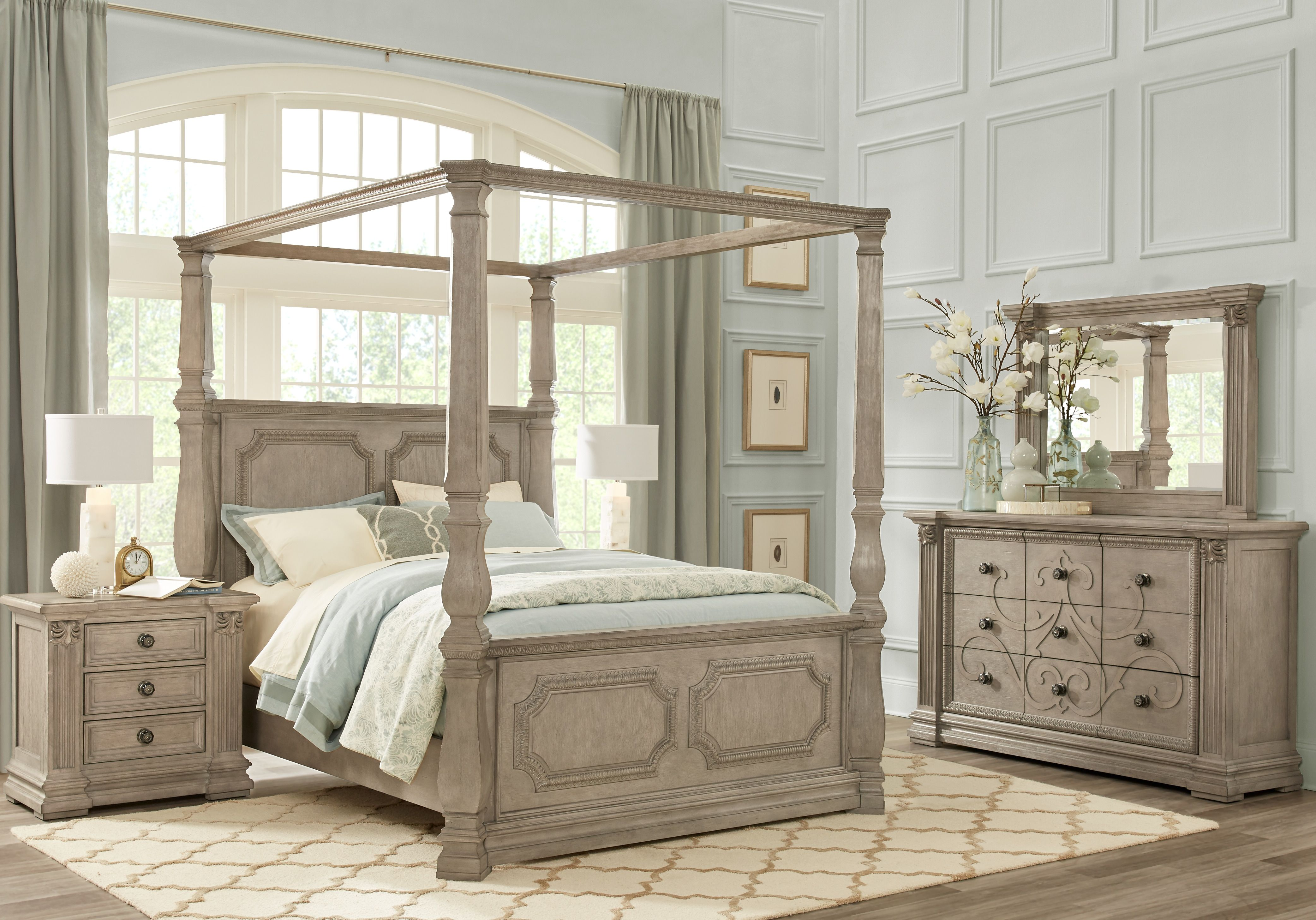 Havencrest Gray 9 Pc King Canopy Bedroom Canopy Bedroom Sets