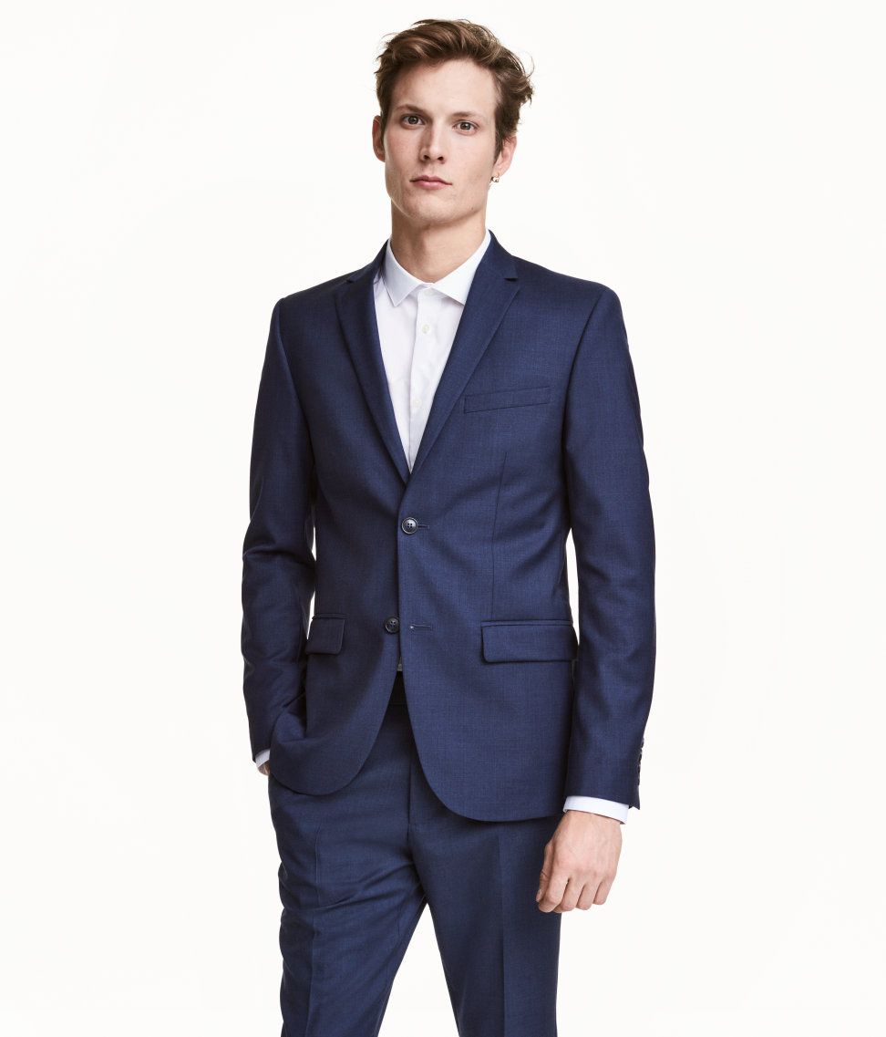 Wool Blazer Slim fit | Dark blue | Men | H&M US | groomsmen attire ...
