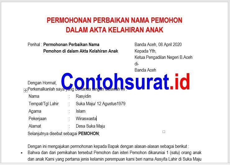Contoh Surat Permohonan Perbaikan Nama Dalam Akte Akta Kelahiran Akta Kelahiran Perbaikan Kelahiran Anak