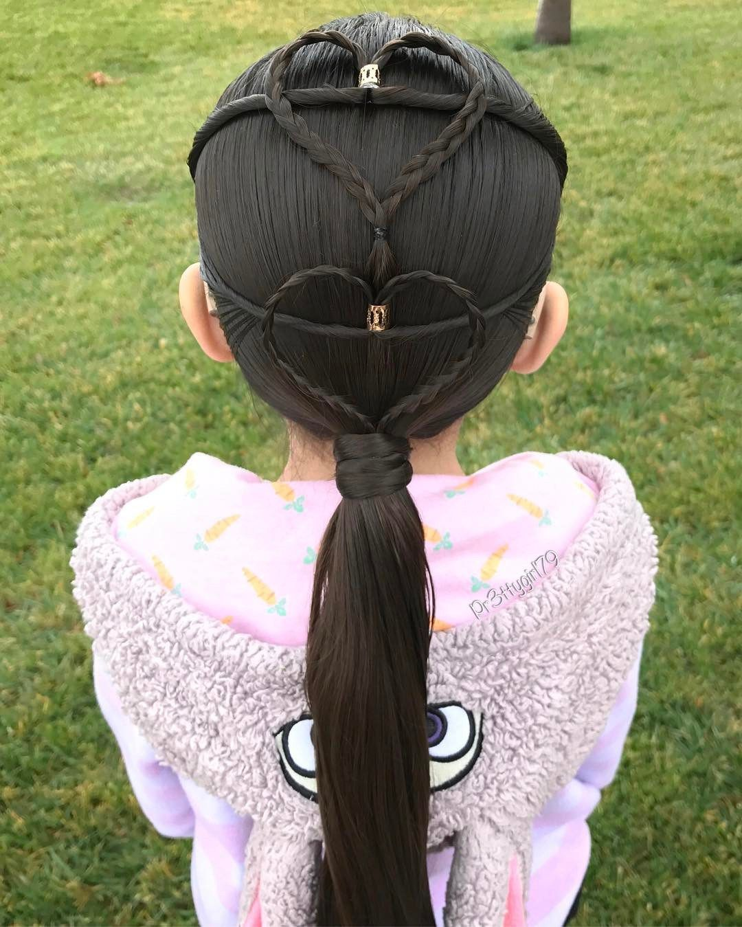 Mermaid elastic heart stylehairstyles for little girls hairstyle