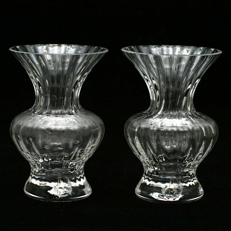 Pair Dartington Crystal Vases Chantelle With Original Labels