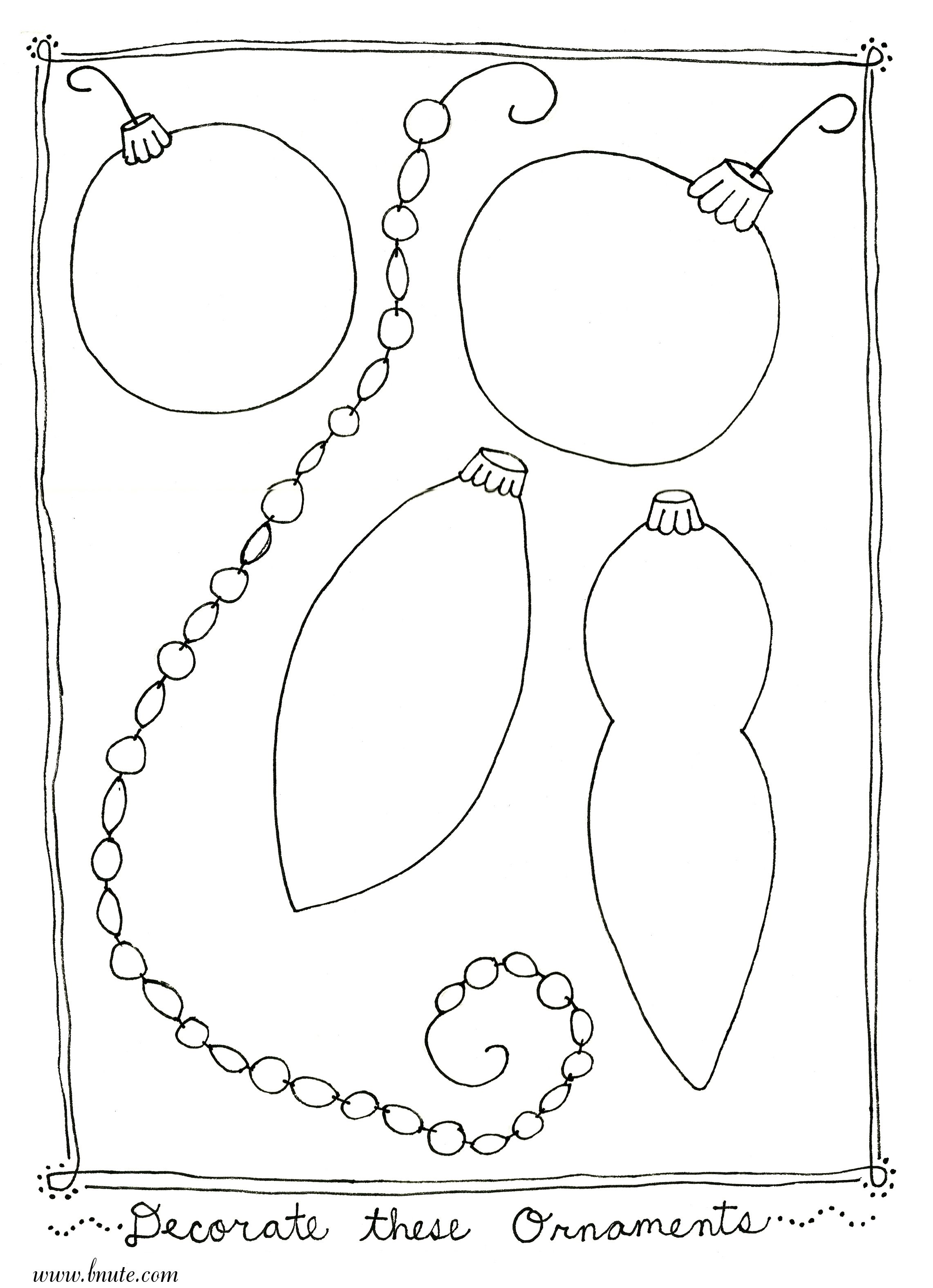 Christmas Ornament Coloring Pages | More Christmas Printable Art ...