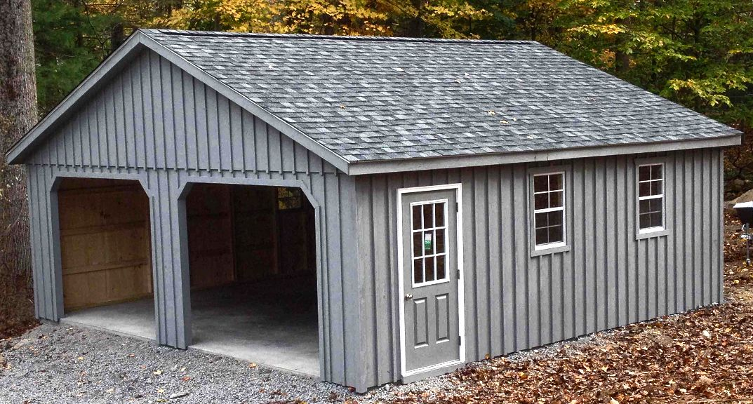 24x24 2 Car 2 Story Garage With 7 Pitch Roof Located In