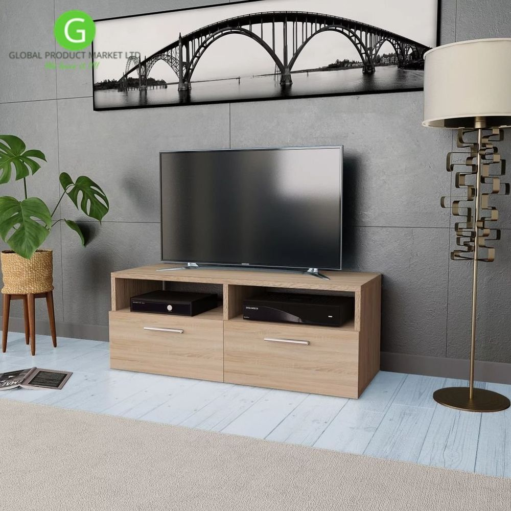 Wooden Tv Cabinet Oak Media Video Dvd Storage Unit Flat Console Stand Furniture