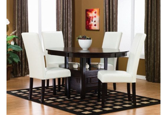 Dalton Chocolate Dining Package W White Chairs The Brick