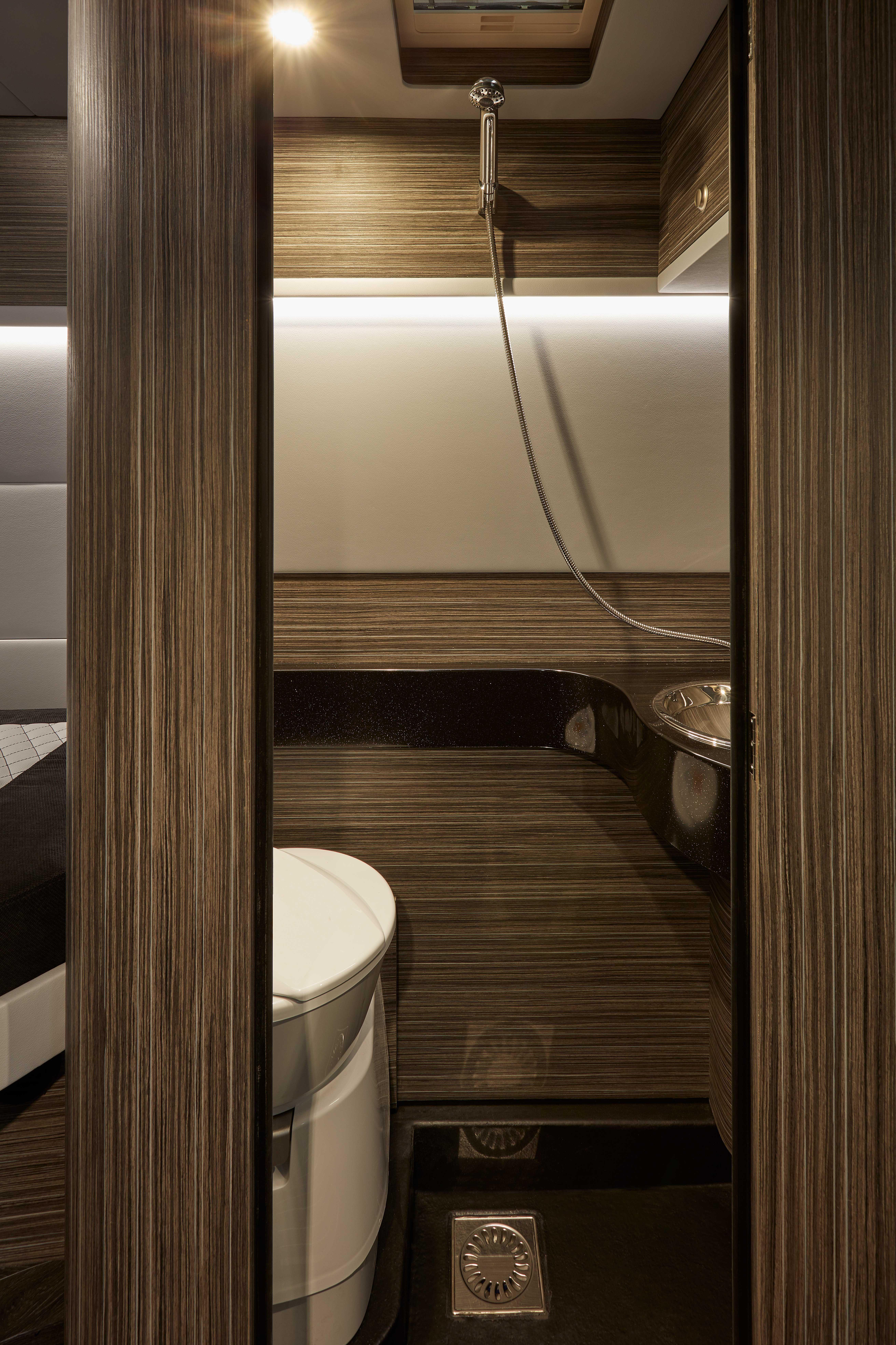 Campervans, Sprinter, Bathroom, Shower, Dark Interior   Motorcycle camping, Luxury rv ...