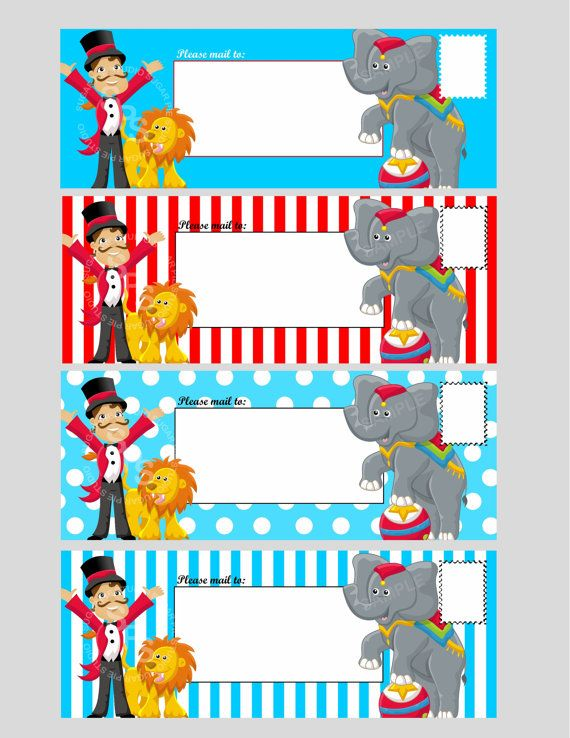 Classroom Decor Templates : Printable digital file circus ticket envelope template