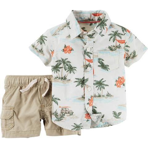 206ffef72d203e Carters conjunto 2 peças estampado camisa florida menino 24 meses ...