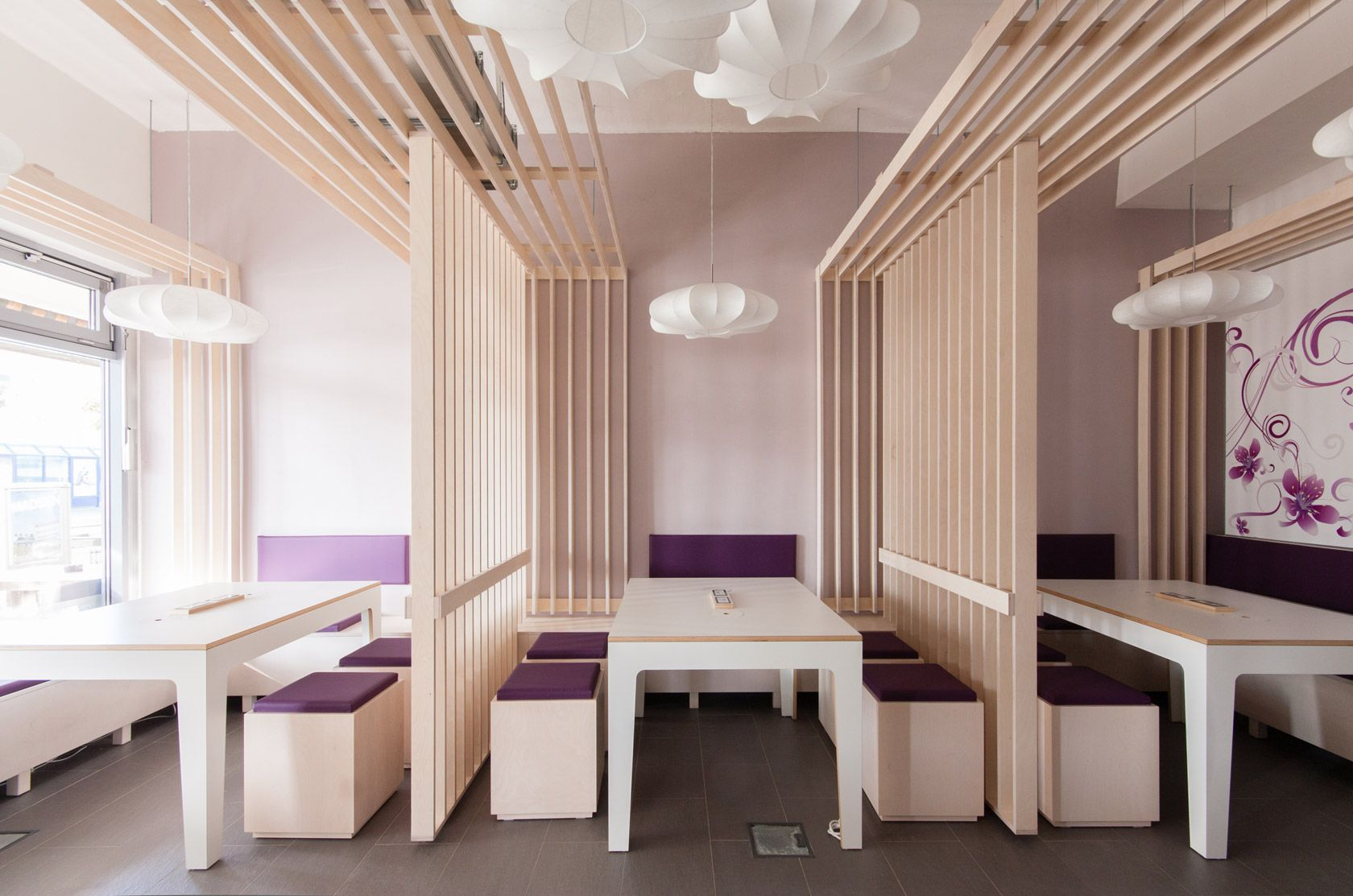 Restaurant Interior Design Ideas Comes With Clean White Interior Decoration  And In Line Plywood Ceiling Themes