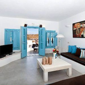 Simple Blue And White Santorini Living Room Ideas With Stone Furniture