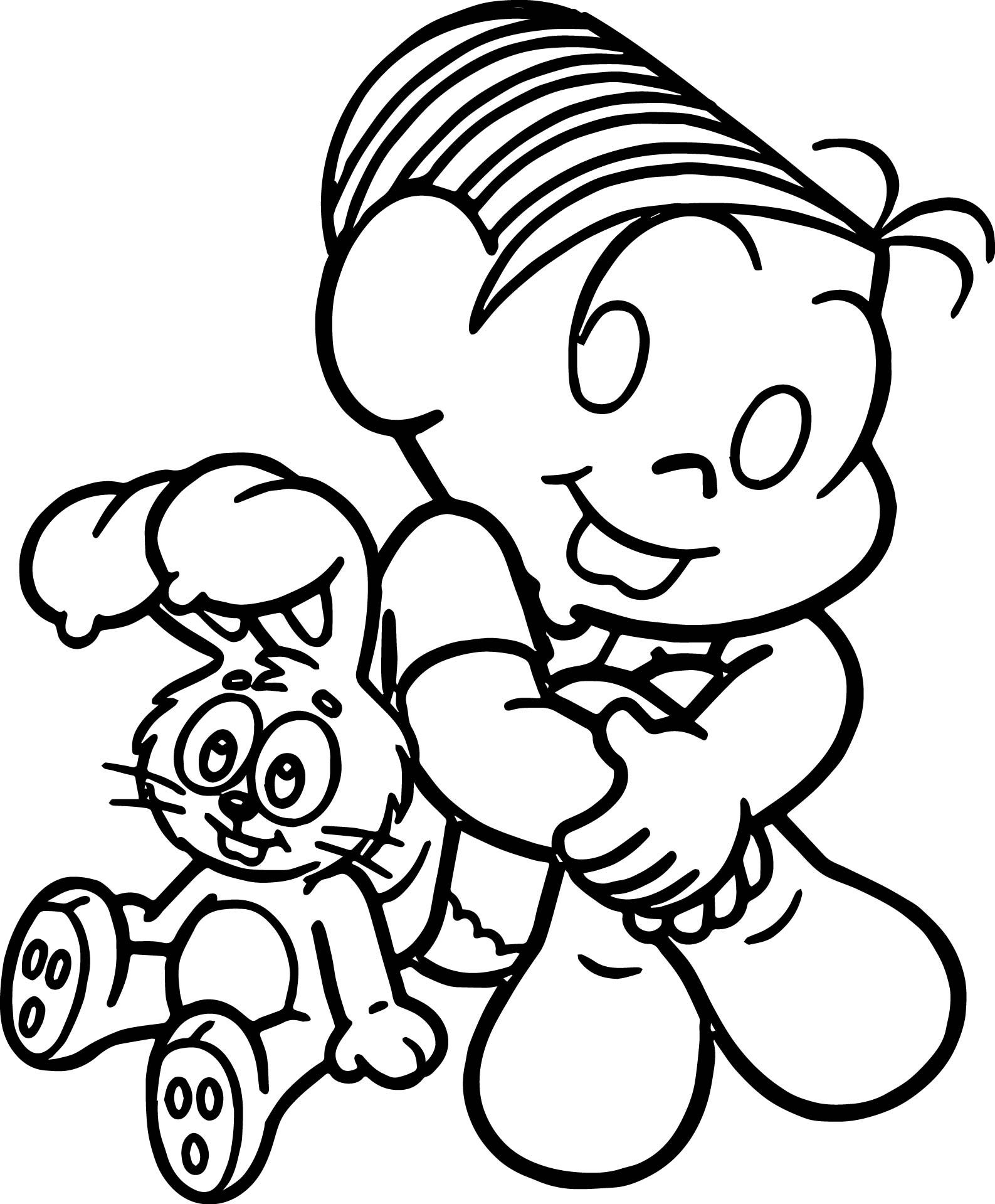 Cool Girl Monica And Toy Bunny Cute Coloring Page Cute Coloring
