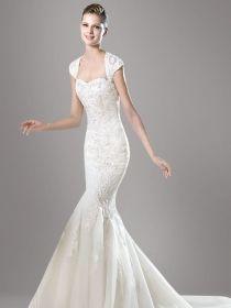 Cap Sleeves Keyhole Back White Lace Overlay Tulle Mermaid Wedding Dress