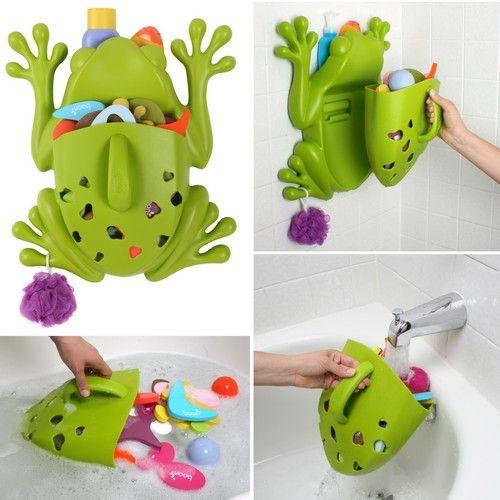 Guarda juguetes en forma de rana guarda y limpia los juguetes de la ba era kidshome la - Guarda juguetes bano ...