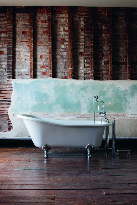 Bathroom With Exposed Brick Wall The Raised End Of Stunning Slipper Bath Is Angled Perfectly To Support You Provide A Luxurious Bathe Harewood