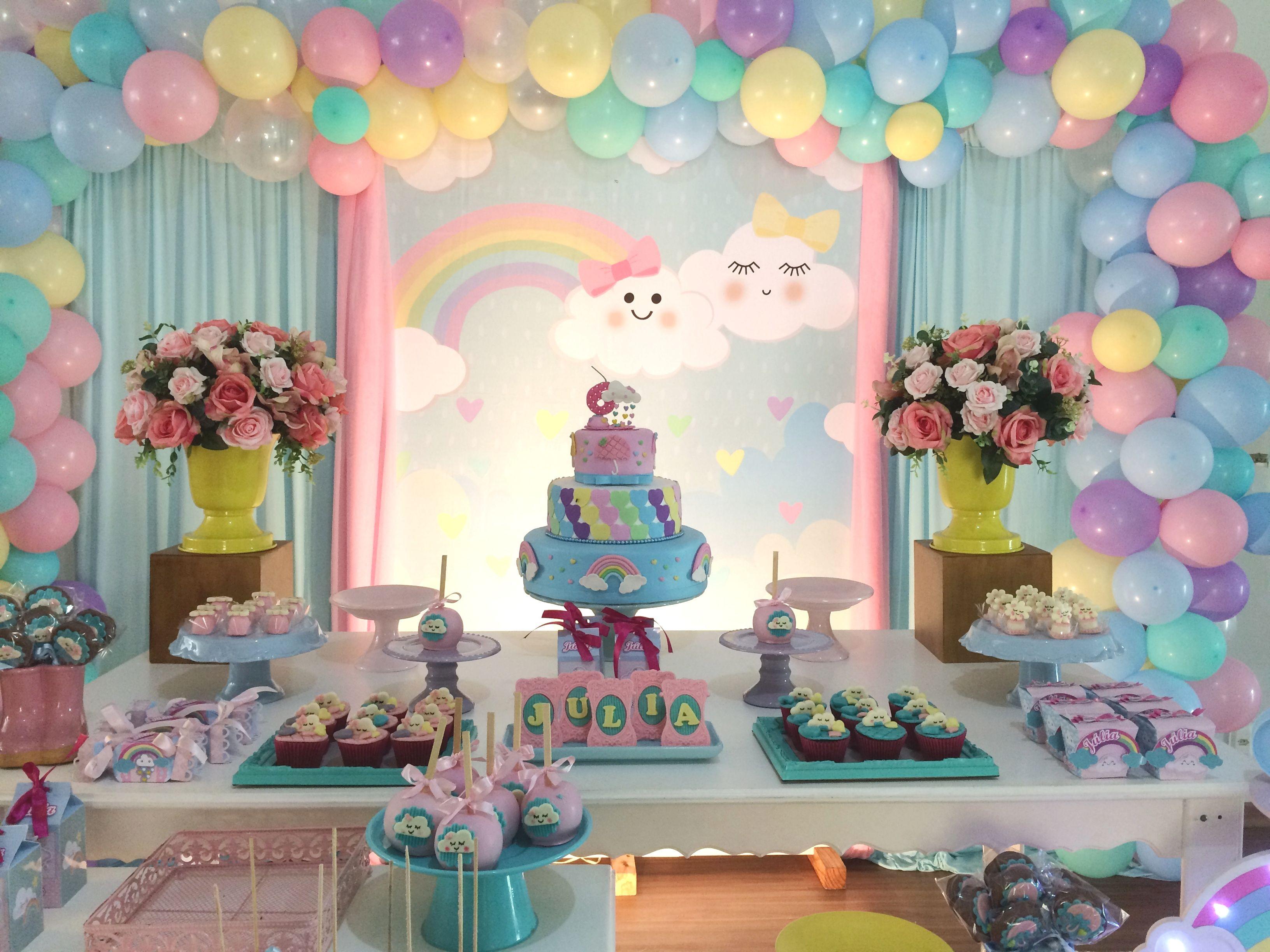Decoraç u00e3o Chuva de Amor Festas Infantis Cloud party, Bubble birthday parties e Rainbow birt -> Decoração Festa Aniversario Chuva De Amor