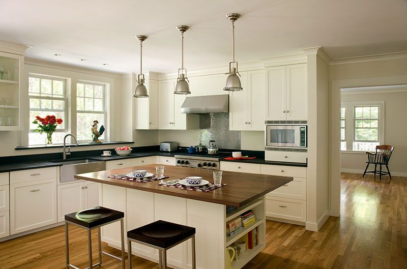 Full overlay shaker style white painted custom kitchen for 1930 style kitchen cabinets