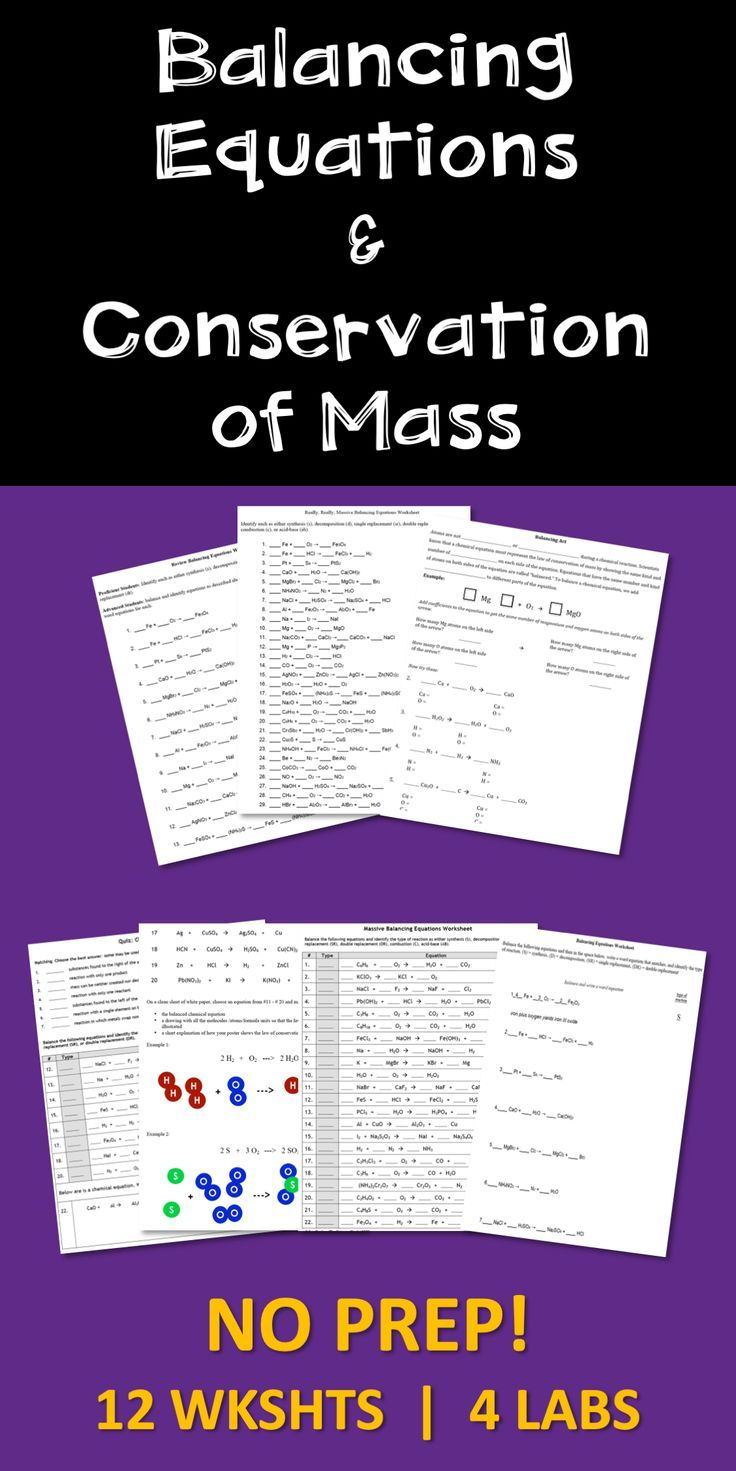 Balancing Chemical Equations Conservation of Mass