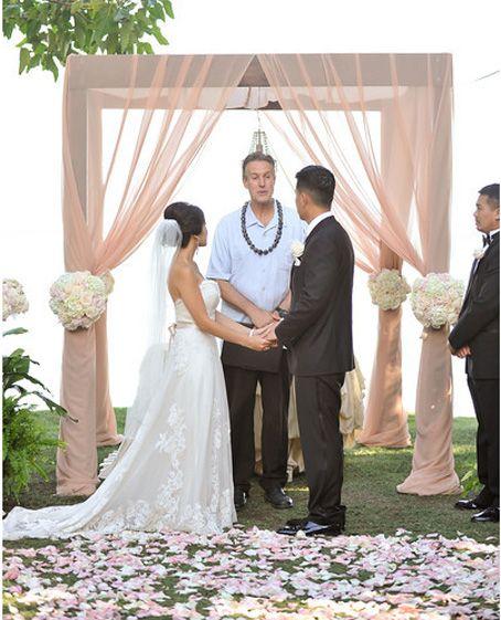 Wedding Arch Decorations Fabric: Fabric Drape On Existing Arch. #blush Pink #fabric Draped