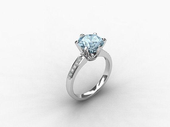 Aquamarine Engagement Ring With Diamonds Made From White Gold By Torkkelijewellery 3110 Aquamarine Engagement Ring Diamond Engagement Rings Engagement Rings