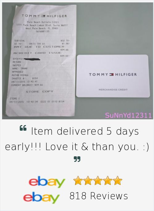 TOMMY HILFIGER Gift Card Store Merchandise Credit $34.66 Value