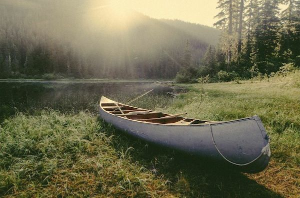 morning light on an evening canoe