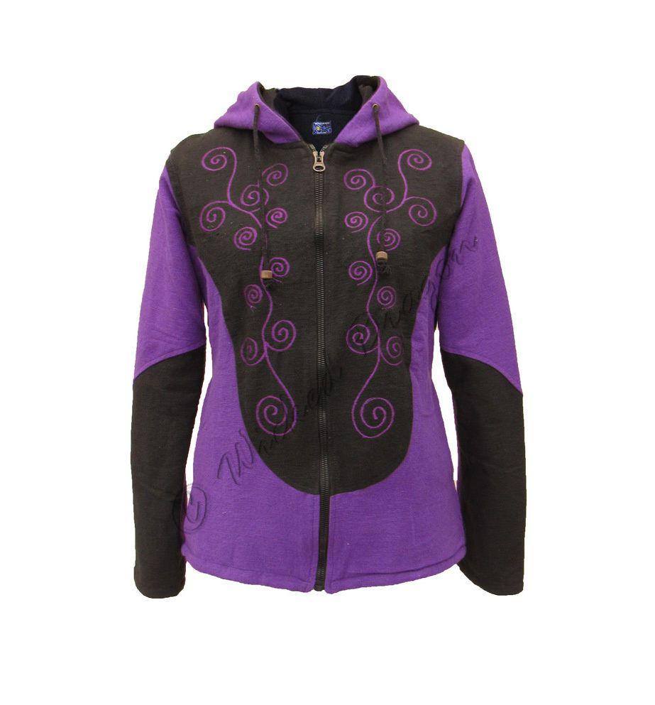 New Fleece Lined Winter Hoodie Jacket Embroidered Spirals Pagan Hippie Coat | eBay