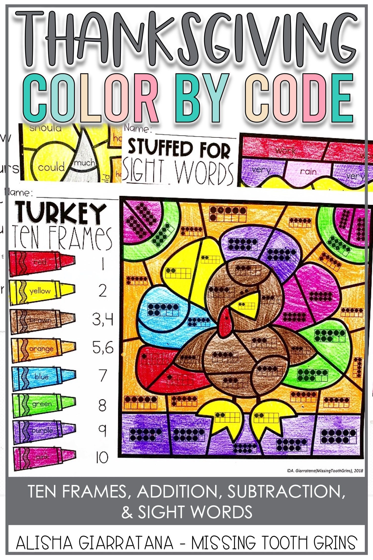 Color By Code Thanksgiving
