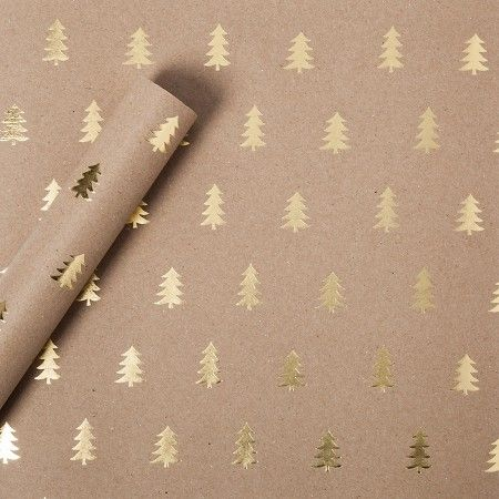 Sugar Paper® Gold Foil Trees on Brown Kraft Wrapping Paper ...