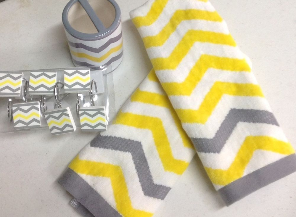 15 Pc Chevron Bright Yellow Gray White Bathroom Set Bath Towel Shower Hooks  NEW chevron