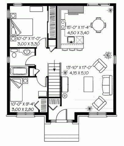 Resultado de imagen para plano casa dos dormitorios cocina for Planos de casas de 2 habitaciones