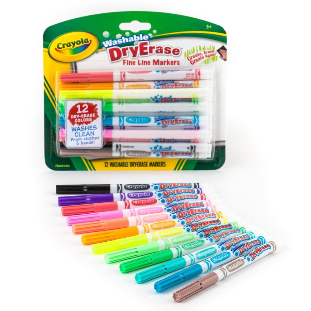 Crayola Washable Dry Erase Markers Art Tools 12 Ct Fine Line Easy Erase Bright Bold Colors Homeschool Supplies Dry Erase Markers Dry Erase