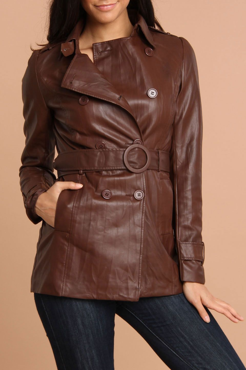 love this! Flying Tomato Faux Leather Trench Coat In Brown