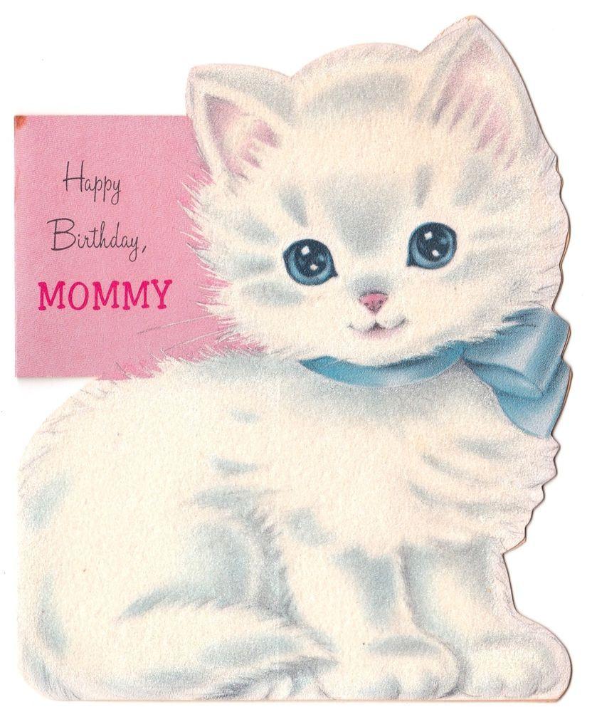 Vintage Greeting Card Birthday Cat White Flocked Kitten Die Cut