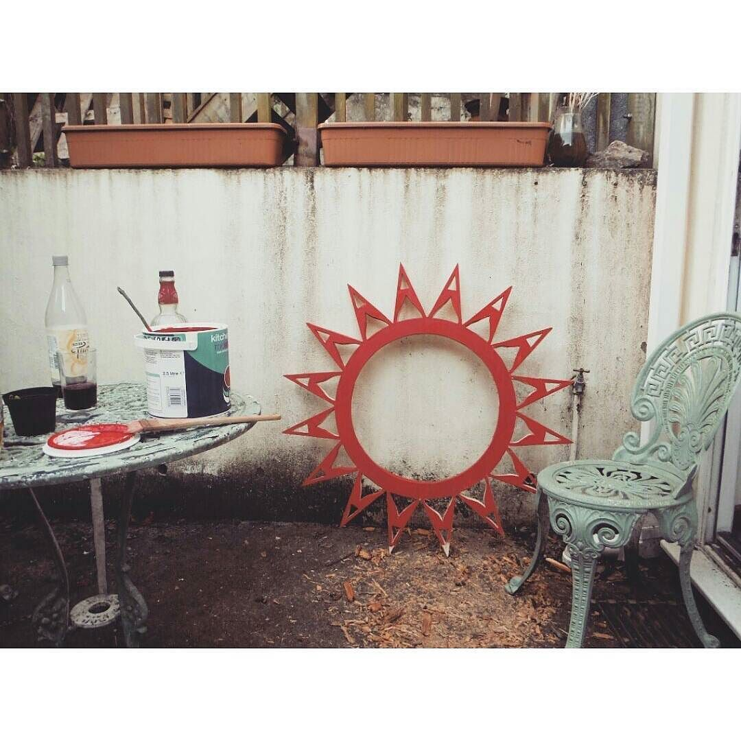 Painting on the patio #painting #Sun #mandala #exhibition #making #craft #woodwork #handmade #Cornwall #Falmouth #uni de mudcraftpottery