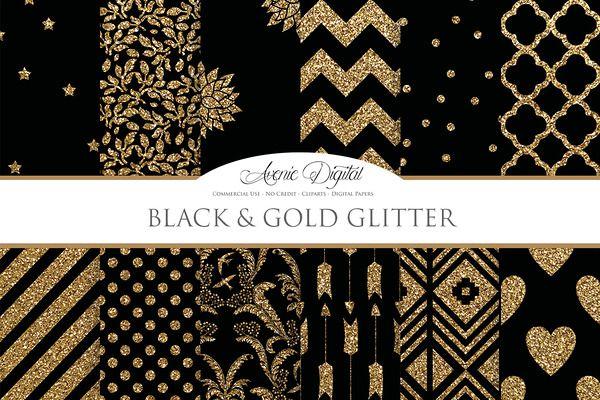 Black and Gold Digital Paper