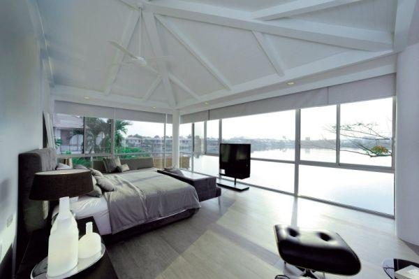 Luxus Ferienhaus Modernes Design Schlafzimmer Seeblick