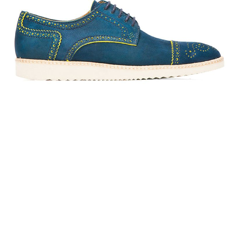 Ps By Paul Smith: Blue & Yellow Nubuck Mcroy Brogues